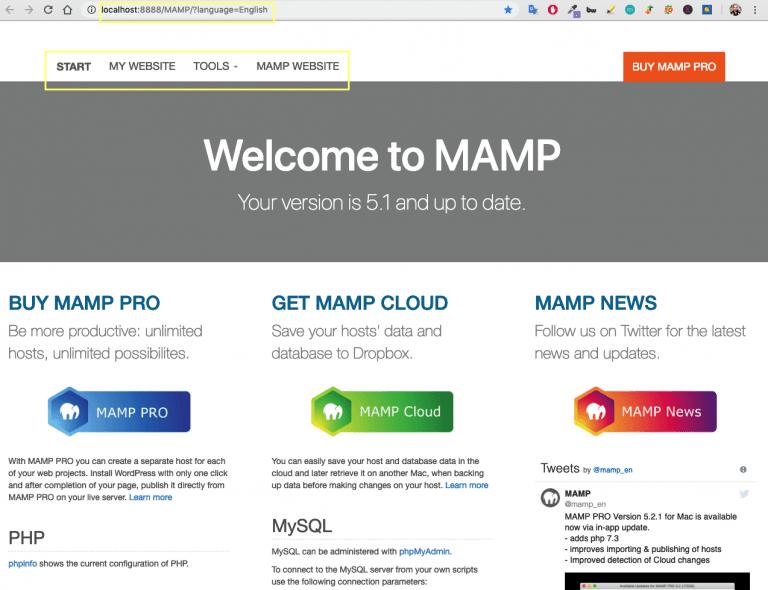 pantalla de inicio MAMP