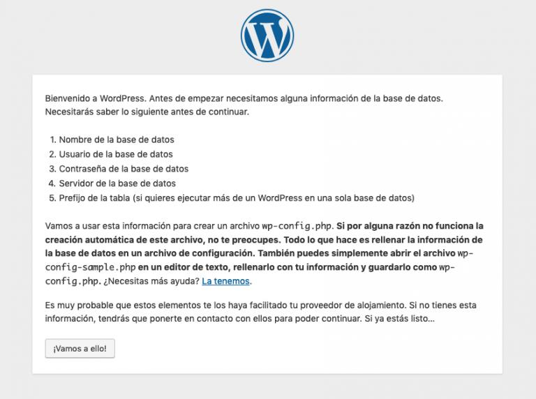 Wordpress configuración mensaje informativo