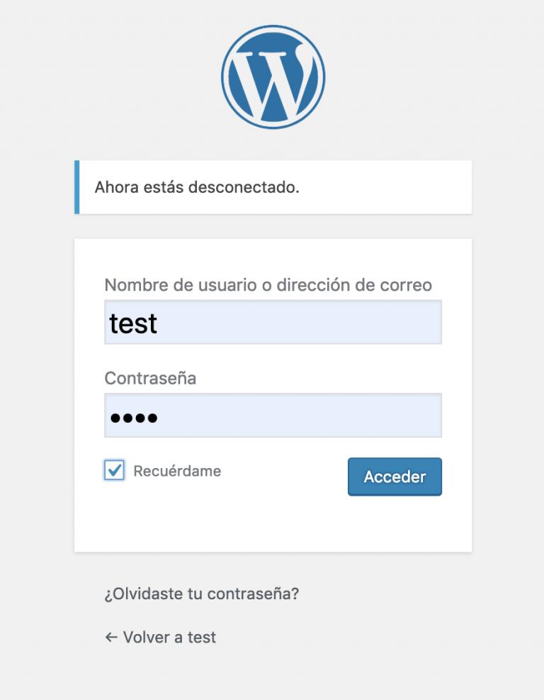 Login WordPress inicial