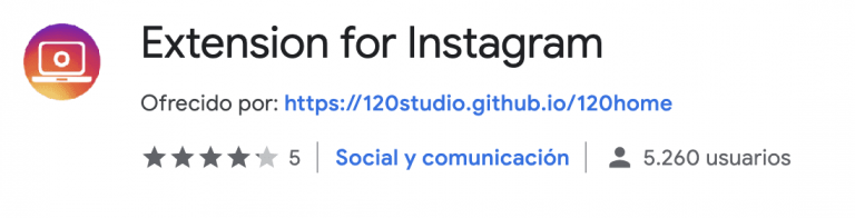 Web Site Story Instagram extensión