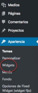 Menú widget